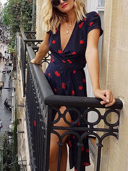 Navy Blue V-neck Cherry Print Puff Sleeve Midi Dress