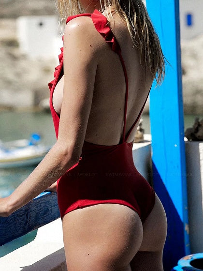 Red Plunge Lace Up Front Ruffle Trim Open Back Swimsuit