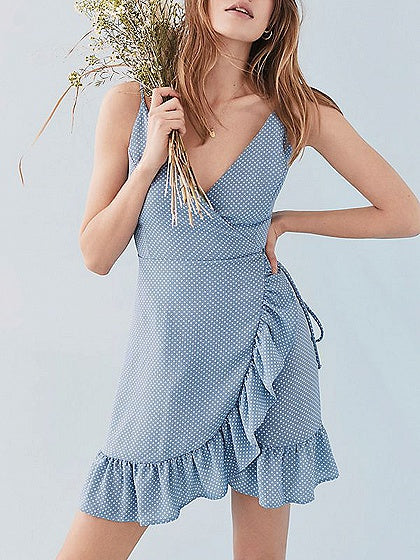 Light Blue V-neck Polka Dot Tie Waist Ruffle Hem Mini Dress
