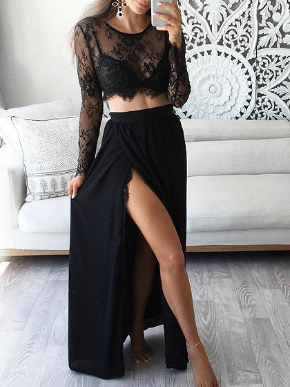 Black Long Sleeve Lace Crop Top And High Waist Skirt