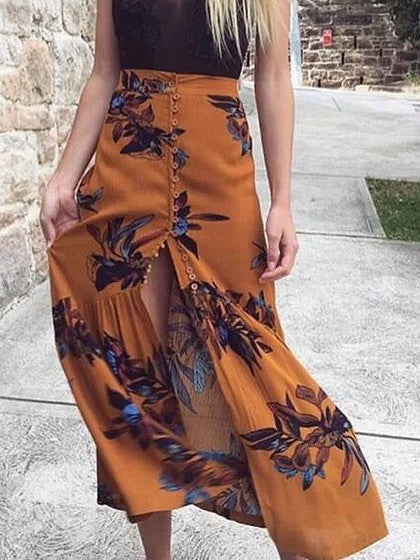 Yellow Maxi Skirt Floral High Waist Button Front