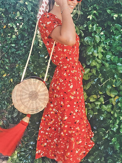 Red Midi Dress V-neck Floral Print Puff Sleeve