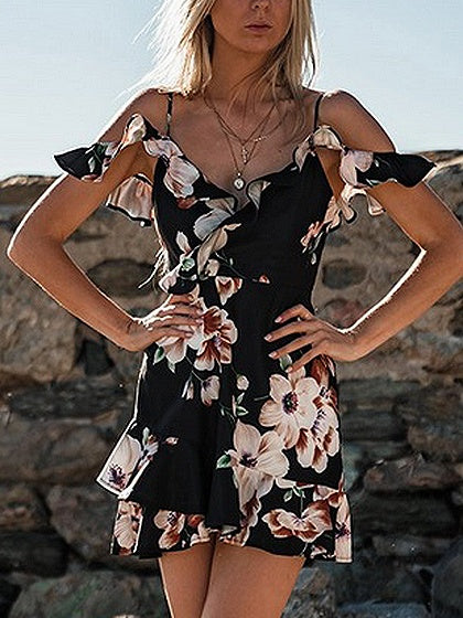 Black Spaghetti Strap V-neck Floral Print Ruffle Trim Mini Dress
