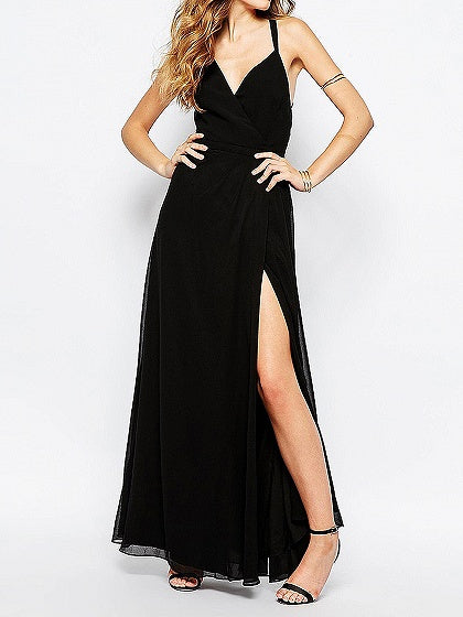 Black Plunge Cami Strap Back Cross Backless Maxi Dress