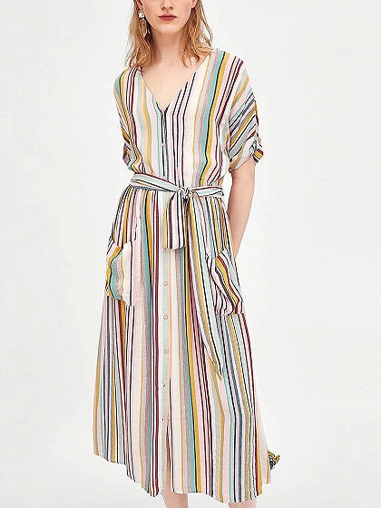 Polychrome Stripe V-neck Tie Waist Pocket Front Midi Dress