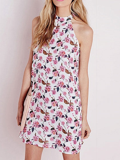 Polychrome Floral Print Mini Dress