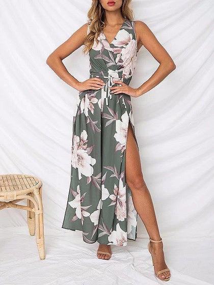 Green V-neck Floral Print Thigh Split Side Romper Jumpsuit