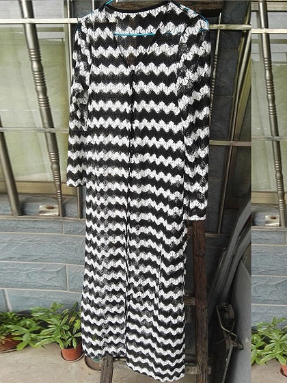 Black Chevron Print Long Sleeve Longline Coverup
