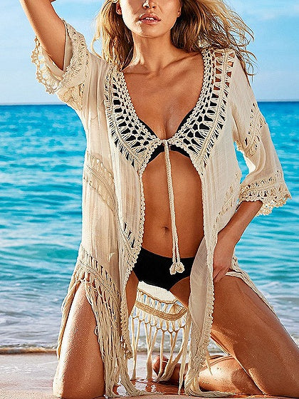 Beige Tie Front Cut Out Detail Tassel Trim Coverup