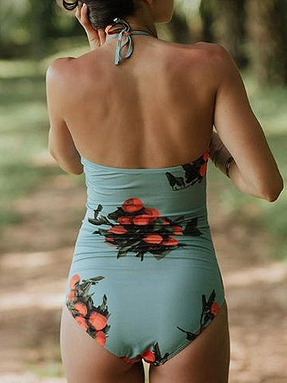 Blue Halter Floral Print Ruched Detail Open Back Swimsuit