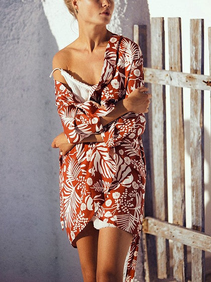 Red Kimono Floral Print Open Front Tie Waist Long Sleeve