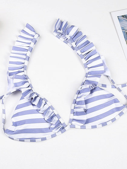 Blue Stripe Ruffle Trim Bikini Top And Bottom