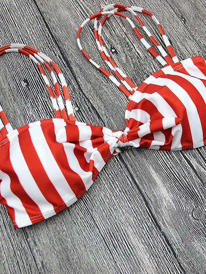 Pink Stripe Tie Detail Bikini Top And Bottom