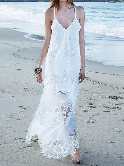 White Spaghetti Strap V-neck Split Side Lace Panel Maxi Dress