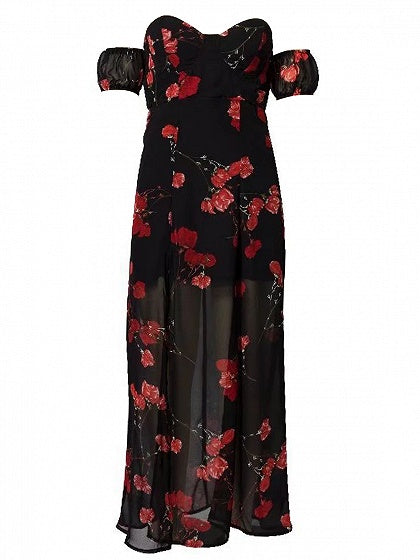 Red Off Shoulder Floral Print Thigh Split Open Back Maxi Dress