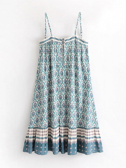 Light Green Folk Print Button Placket Front Slip Midi Dress
