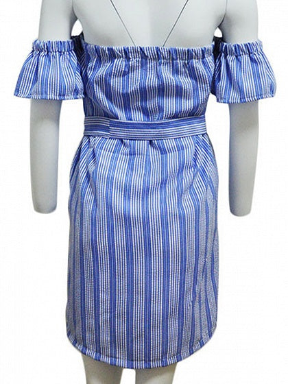 Light Blue Stripe Off Shoulder Tie Waist Flare Sleeve Mini Dress