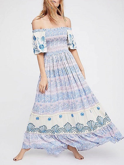 Light Blue Off Shoulder Floral Print Maxi Dress