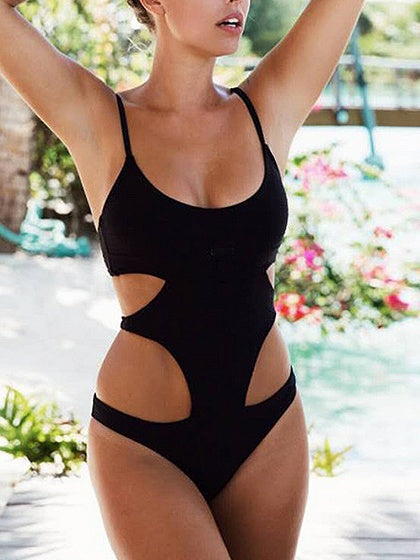 Black Spaghetti Strap Cut Out Detail Swimsuit