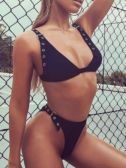 Black Eyelet Buckle Strap Bikini Top And High Waist Bottom