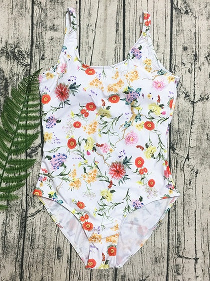 Polychrome Floral Print Open Back Swimsuit