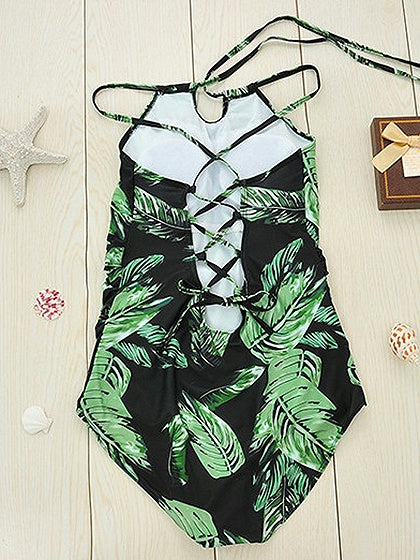 Green Leaf Print Lace Up Back Swimsuit