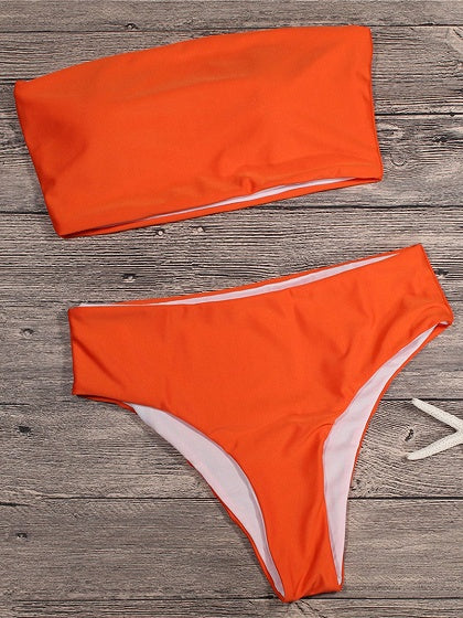 Orange Bandeau Bikini Top And High Waist Bottom