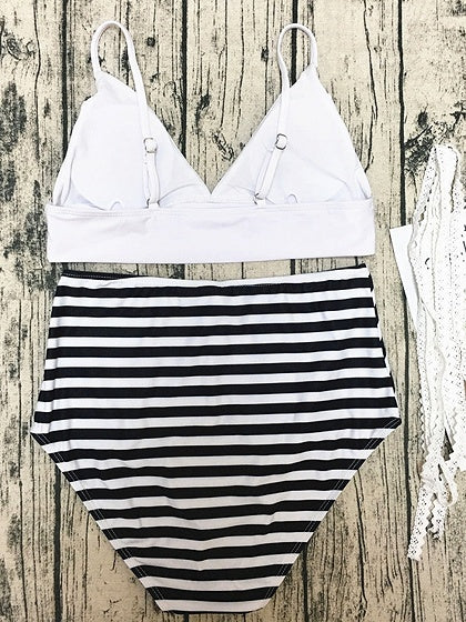 White V-neck Bikini Top And Stripe High Waist Bottom