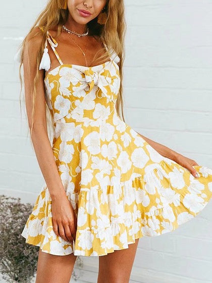 Yellow Spaghetti Strap Floral Print Tie Front Mini Dress