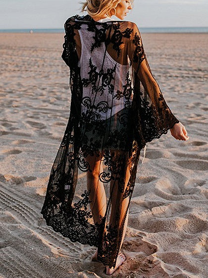 Black Embroidery Detail Open Front Sheer Mesh Longline Coverup
