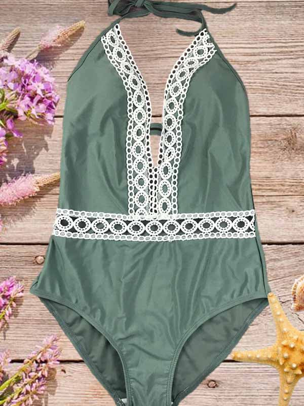 Green Halter Lace Panel Open Back Swimsuit