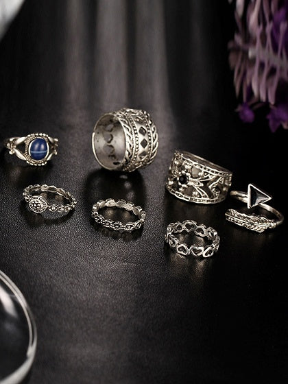 Silver Carve Pattern Seven Pieces Set Rings