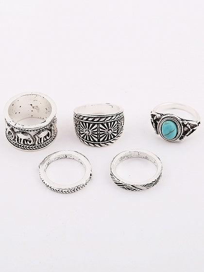 Silver Turquoise Carve Pattern Five Pieces Set Rings