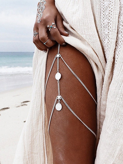 Silver Coin Pendant Layered Body Chain