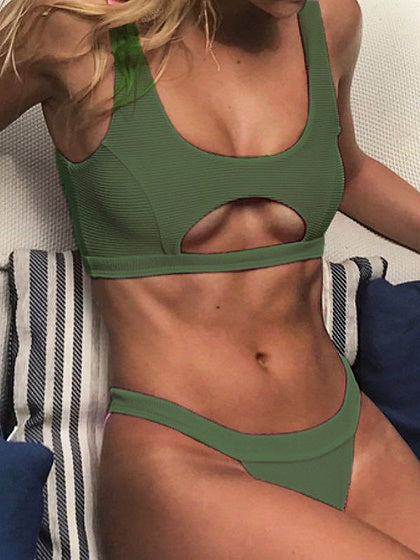 Army Green Cut Out Front Bikini Top And Bottom