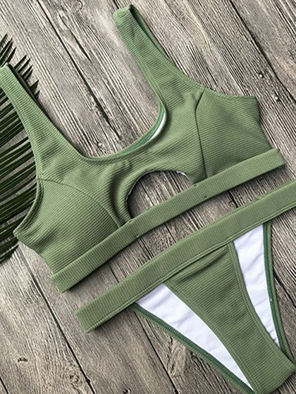 Army Green Bikini Cut Out Front