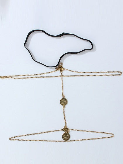 Golden Coin Pendant Layered Body Chain