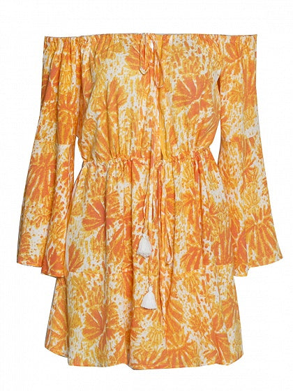 Yellow Off Shoulder Leaf Print Long Sleeve Romper Playsuit