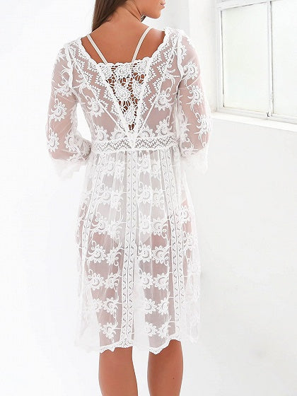 White Crew Neck Cut Out Detail Sheer Lace Dress