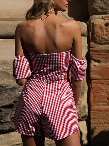 Red Plaid Bandeau Tie Front Puff Sleeve Romper Playsuit