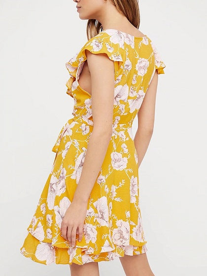 Yellow V-neck Floral Print Ruffle Trim Tie Waist Mini Dress
