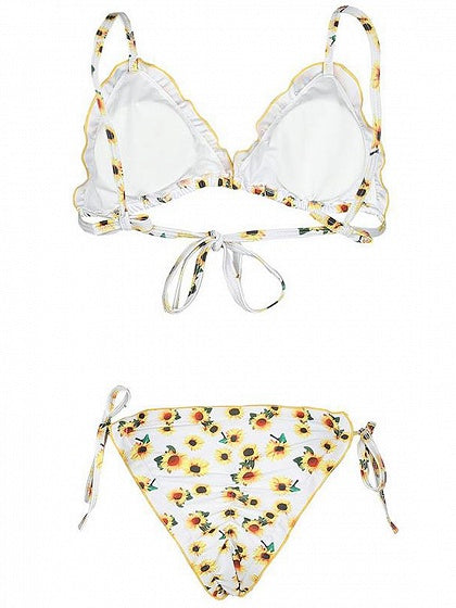 White Bikini Sunflower Print Frill Trim