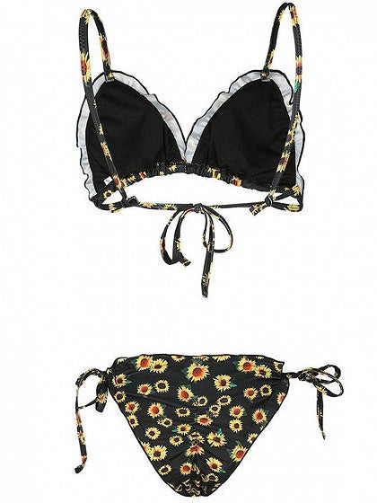 Black Sunflower Print Frill Trim Bikini Top And Bottom