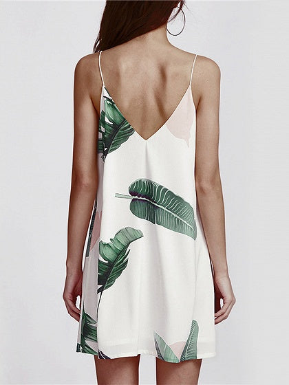 White V-neck Leaf Print Open Back Cami Mini Dress