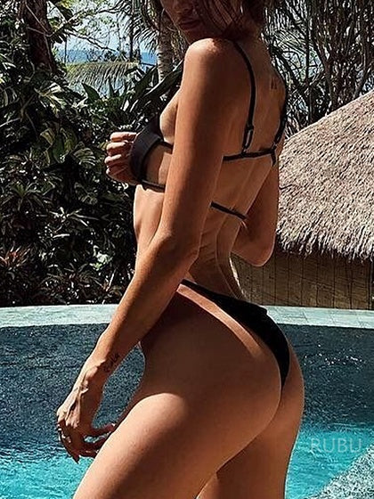 Black Open Back Bikini Top And High Waist Bottom