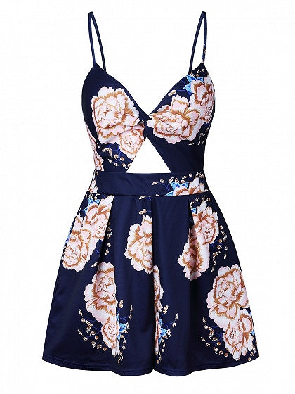 Dark Blue V-neck Floral Print Open Back Cami Mini Dress