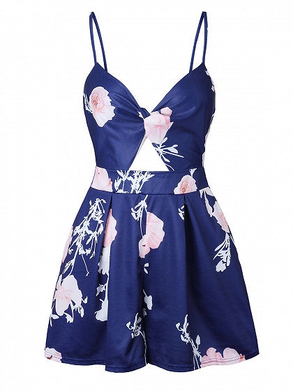 Blue V-neck Floral Print Open Back Cami Mini Dress