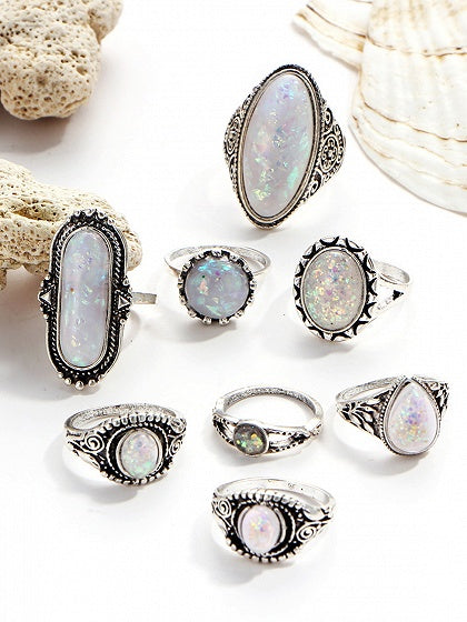 White Opal Carve Pattern Vintage Women Eight Pieces Set Rings