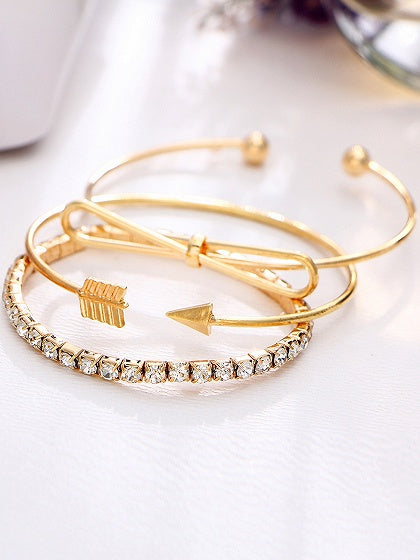 Gold Diamond Detail Arrow Shape Vintage Women Three Pack Bracelets