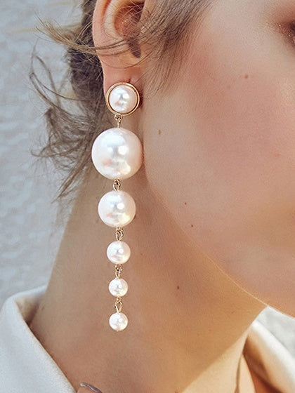 White Pearl Detail Vintage Women Earrings